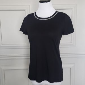 Black tee with collar detail